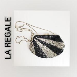 La Regale Crossbody Sequined Bag Silver Black